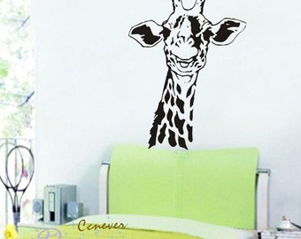 32inch Giraffe head neck----Removable Graphic Art wall decals stickers home decor