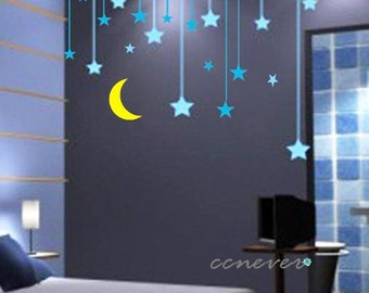 30pcs stars moon kids nursery----Art Graphic Vinyl wall decals stickers home decor