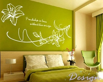 Blooming lily flowers 44by32inch----Removable Graphic Art wall decals stickers home decor