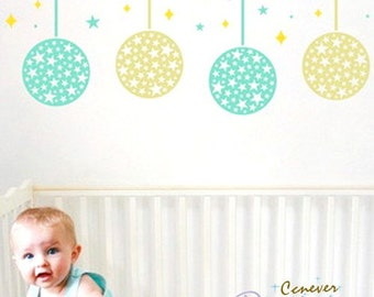 4 Moon full of stars kids nursery----Removable Graphic Art wall decals stickers home decor