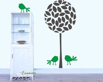 48inch art tree bird----Removable Graphic Art wall decals stickers home decor
