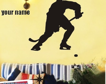 Hockey Player name Sports game----Removable Graphic Art wall decals stickers home decor