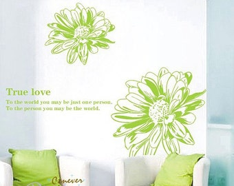 Amazing Big 2 Daisy Flowers----Removable Graphic Art wall decals stickers home decor