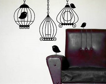 Birdcage set of 3----Removable Graphic Art wall decals stickers home decor