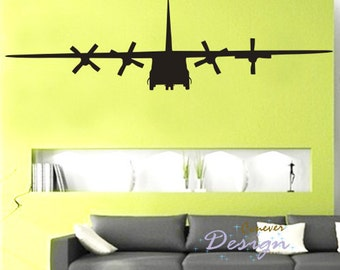 BIG C130 Military Army Airplane 75by22 inch----art Graphic Vinyl wall decals stickers home decor