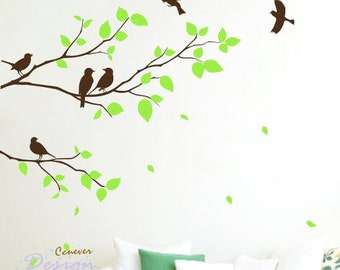 Birds on tree branches 60by56inch----Removable Graphic Art wall decals stickers home decor