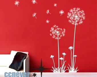 Dandelion Flowers 40inch----Removable Graphic Art wall decals stickers home decor
