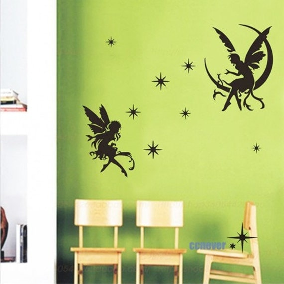 Angel on moon starsremovable graphic art wall decals by for Angel wall decoration