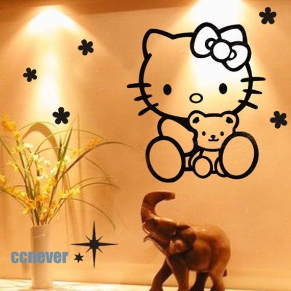 Hello Kitty Wall Decals Etsy : Hello Kitty Cute Bear Flower Home Art Decor  Removable By