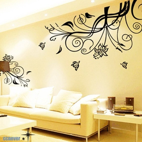 80inch amazing flowers blooming butterfly----Removable Graphic Art wall decals stickers home decor