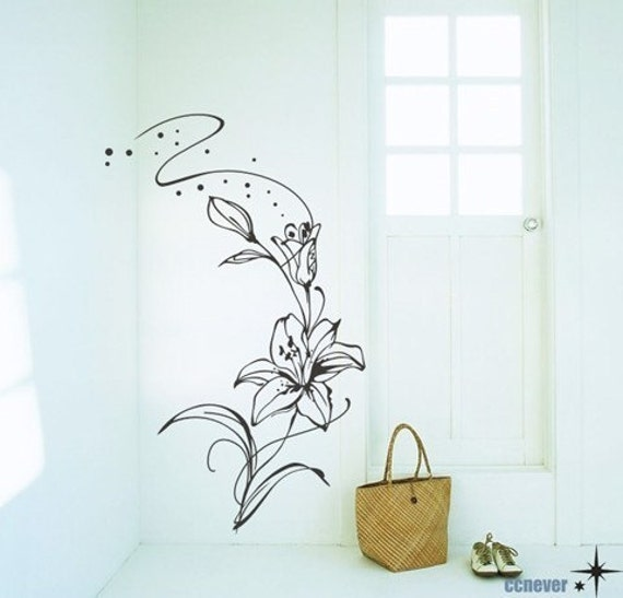 flowers lily bedroom----Removable Graphic Art wall decals stickers home decor