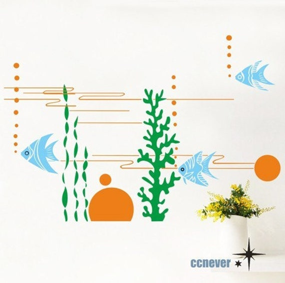 seaweed ocean wave fish----removable Vinyl wall stickers mural decals