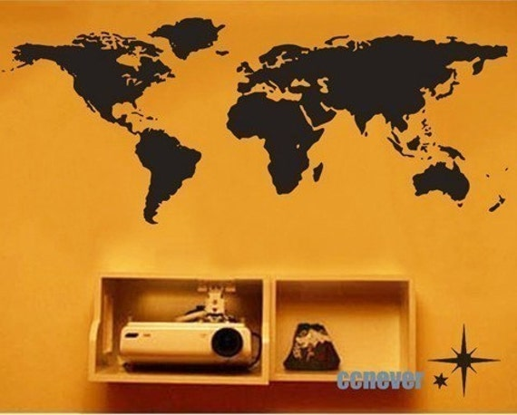 World Map 56inch Bedroom----Removable Graphic Art wall decals stickers home decor
