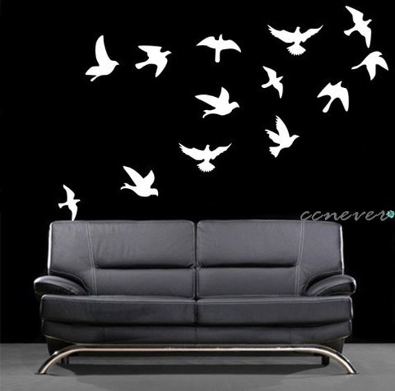 Flock of birds flying 15pcs----Removable Graphic Art wall decals stickers home decor