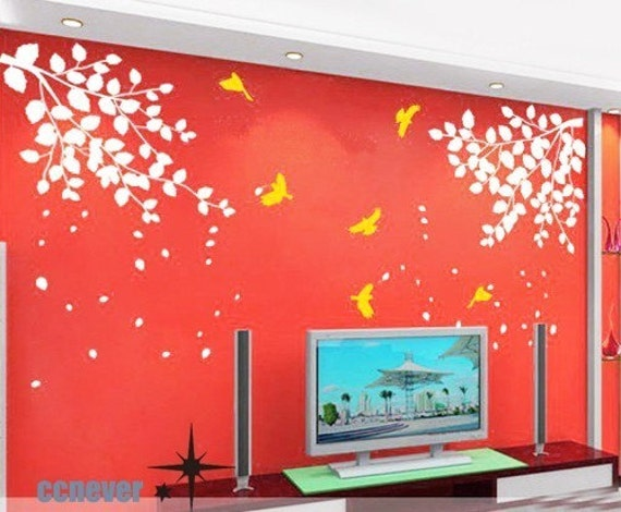 tree branch bird flying 60inch----art Graphic removable Vinyl wall decals stickers home decor