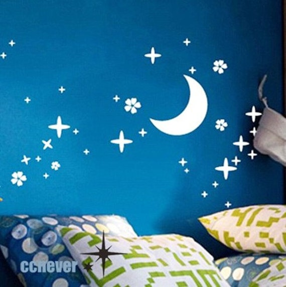 Moon and stars kids nursery----Removable Graphic Art wall decals stickers home decor