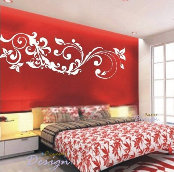 Flying Flowers Ivy 72inch----Removable Graphic Art wall decals stickers home decor