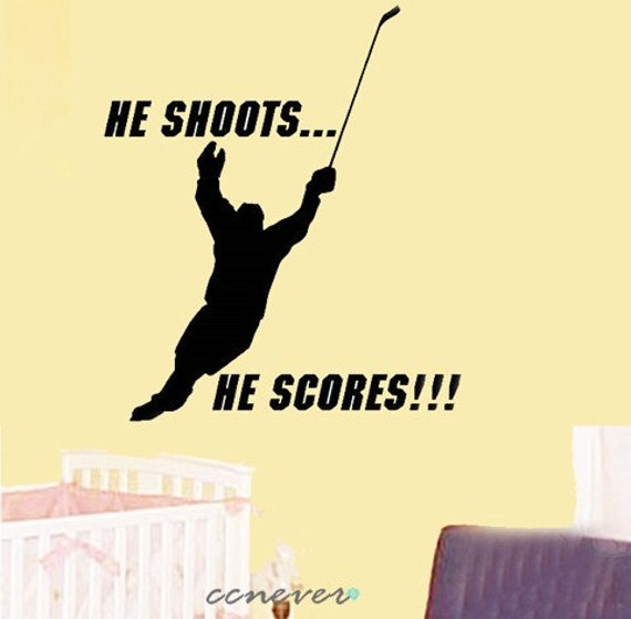 Hockey Player Sports game----Removable Graphic Art wall decals stickers home decor