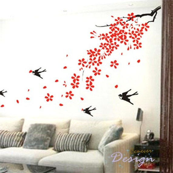 Flying Birds Wall Decor items similar to spring tree leaves flying birds-----removable