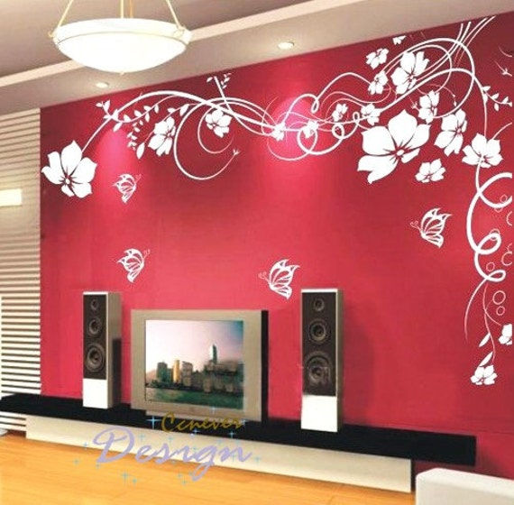 amazing flowers blooming 60by40inch----Art Graphic Vinyl wall decals stickers home decor