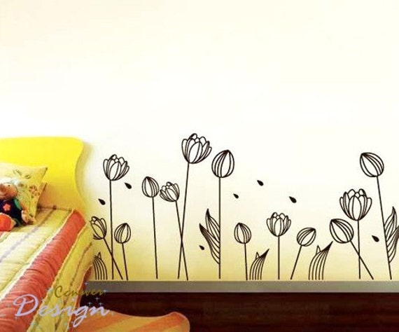 13pcs Elegant flower 64inches W----Removable Graphic Art wall decals stickers home decor