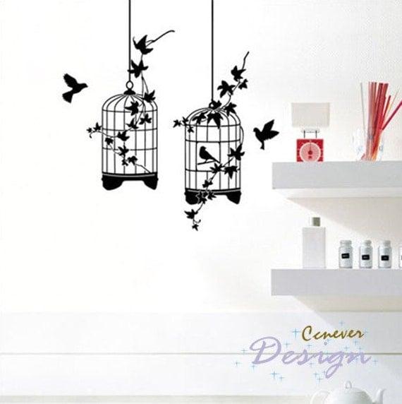 Flower ivy round birdcage and birds----art Graphic Vinyl wall decals stickers home decor