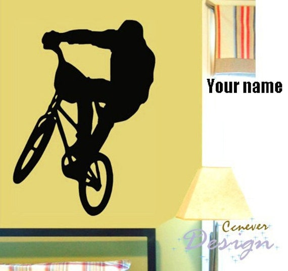 BMX COOL Bike Bicycle Personalized Name----art Graphic Vinyl wall decals stickers home decor