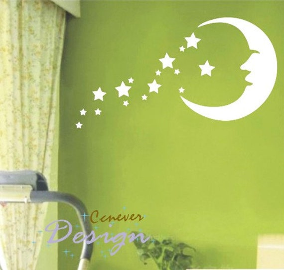 SALE  Moon Stars Kids Nursery----art Graphic Vinyl wall decals stickers home decor