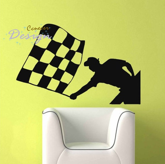 Checkered Flag Flagman Boy Room----Removable Graphic Art wall decals stickers home decor