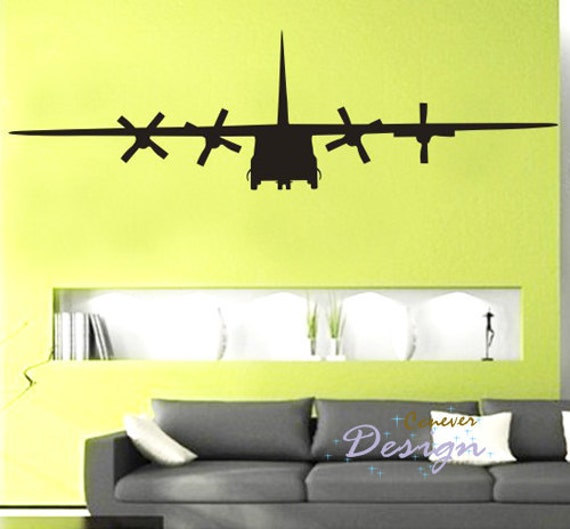 Items similar to big c130 military army airplane 75by22 for Aeroplane wall mural