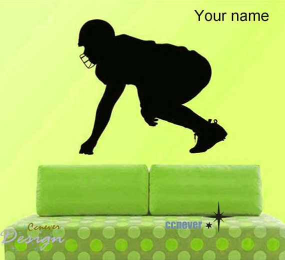 Get  Ready FOOTBALL Player Personalized Name ----Removable Graphic Art wall decals stickers home decor