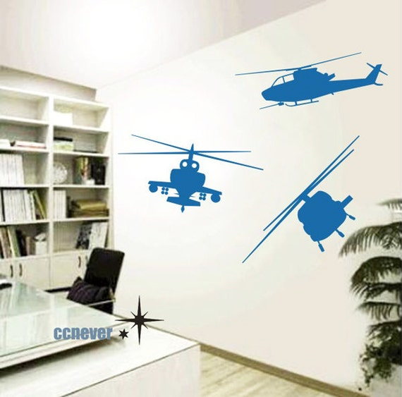 3Sets Military Airplane Helicopter----Removable Graphic Art wall decals stickers home decor