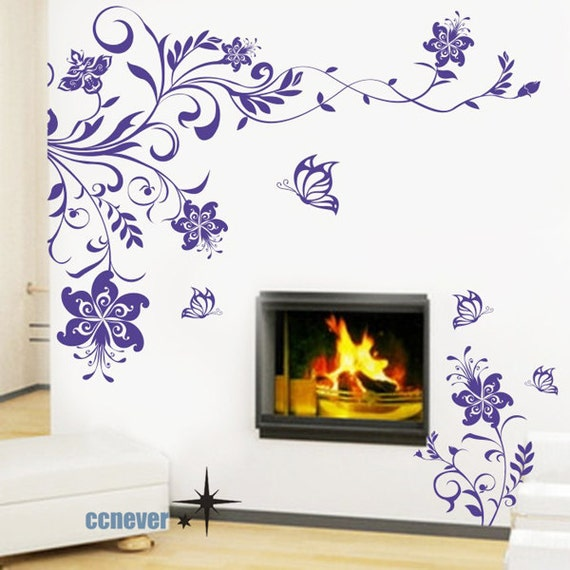 NEW Flower blooming Butterfly----Removable Graphic Art wall decals stickers home decor