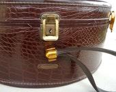 vintage samsonite hat box suitcase - schwayder bros - moc croc