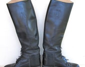 vintage black tall leather equestrian effingham show riding boots by bond 7