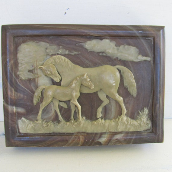 Vintage Horse Equestrian Jewelry Box Wood And Faux Marble