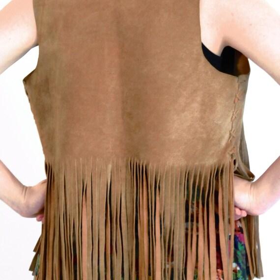 hippy fringed tan suede leather vest - 1960s vintage