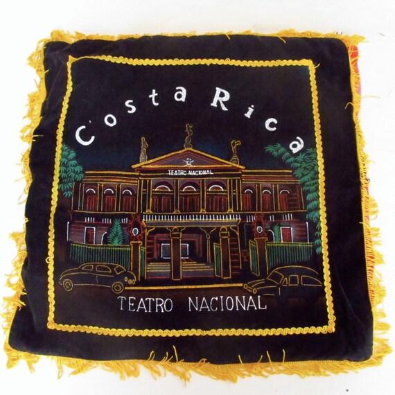 vintage black velvet painting - souvenir costa rica pillowcase