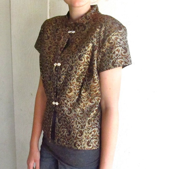 Gold Brocade Vintage Mandarin Jacket | short sleeve top | women medium