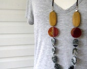 Zebra Agate and Red Stone Necklace on Leather