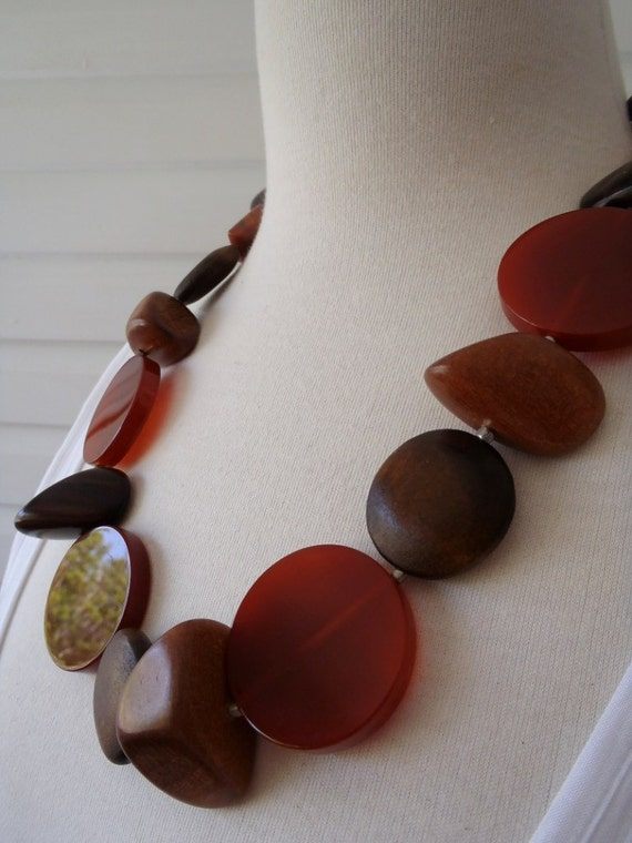 Necklace - Rusty Red and Brown Woods