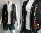 FREE SHIPPING Black Floral Embroidered Spanish Style wool vest