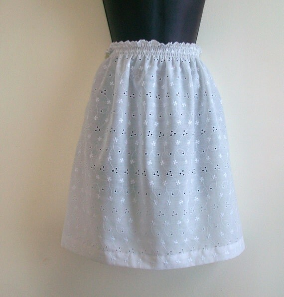 White eyelet skirt handmade from repurposed by farmhousevogue