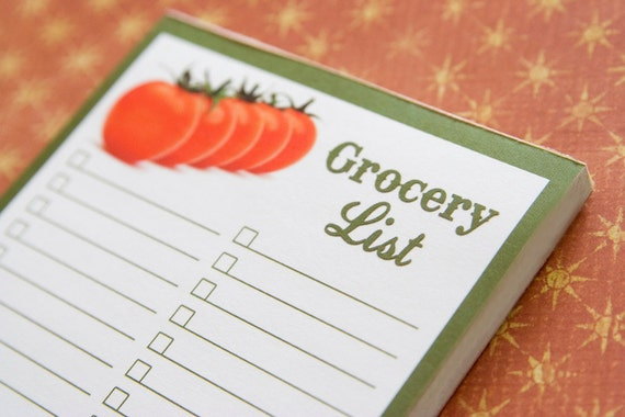 Tomato Grocery List - Magnetic Notepad and Pen Set