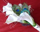 Peacock Wedding Bouquet . Real Touch Calla Lilies Cream White, Peacock Eye Feathers, Peacock Sword Feathers. Peacock Wedding.