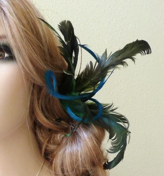 Feather Hair Pick. Peacock Wedding Colors.