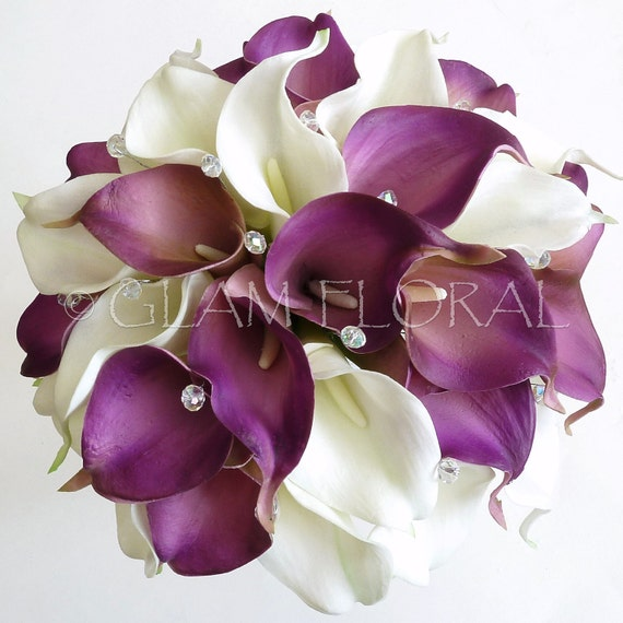 Cream Calla Lily Bridal Bouquet : Real touch calla lily bridal bouquet boutoniere set by