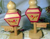 Vintage Red Salt and Pepper Shakers Lamp posts with quirky hand painted red and yellow birds for your retro kitchen