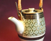 RESERVED Vintage teapot, daisy motif with bamboo handle, super cute post-war Japan mid-century design in fabulous condition