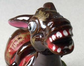 Vintage donkey figurine 1950s to 1960s redware donkey braying and showing his teeth